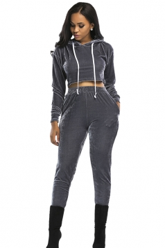 Womens Drawstring Hooded Crop Top&Pants Plain Sports Suit Gray