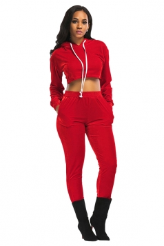 Womens Drawstring Hooded Crop Top&Pants Plain Sports Suit Red