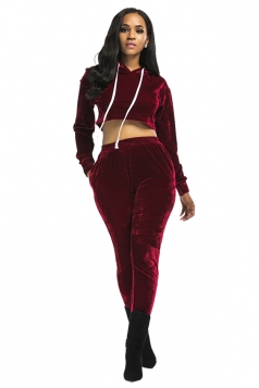 Womens Drawstring Hooded Crop Top&Pants Plain Sports Suit Ruby