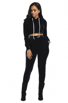 Womens Drawstring Hooded Crop Top&Pants Plain Sports Suit Navy Blue