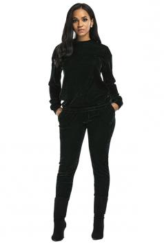 Womens Long Sleeve Crew Neck Oversized Sports Leisure Suit Dark Green
