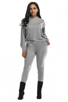 Womens Long Sleeve Crew Neck Oversized Plain Sports Leisure Suit Gray