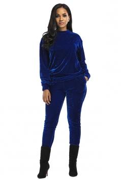Womens Long Sleeve Crew Neck Oversized Plain Sports Suit Sapphire Blue