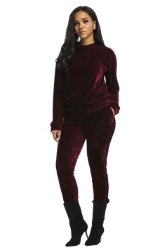 Womens Long Sleeve Crew Neck Oversized Plain Sports Leisure Suit Ruby