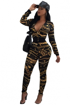 Womens Long Sleeve Zipper V-Neck Printed Sports Leisure Suit Black