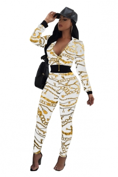 Womens Long Sleeve Zipper V-Neck Printed Sports Leisure Suit White