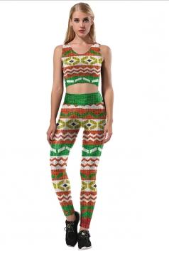 Womens Sexy Crop Top&Skinny Leggings Printed Sports Suit Green