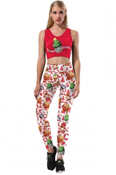 Womens Christmas Tree And Snowman Printed Sexy Sports Suit Red