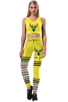 Women Christmas Reindeer And Snowflake Printed Sexy Sports Suit Yellow