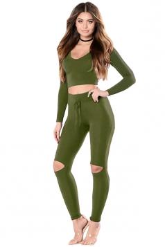 Womens Sexy Hooded V-Neck Crop Top&Knee Split Leggings Suit Army Green