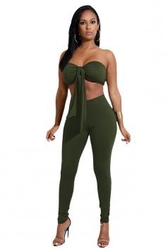 Womens Off Shoulder Bandage Crop Top&Plain Leggings Suit Army Green