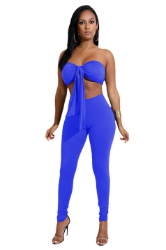 Womens Sexy Off Shoulder Bandage Crop Top&Plain Leggings Suit Blue