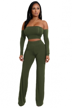 Women Sexy Off Shoulder Lace Up Crop Top&Leisure Pants Suit Army Green