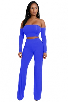 Womens Sexy Off Shoulder Lace Up Crop Top&Leisure Pants Suit Blue