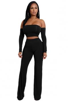 Womens Sexy Off Shoulder Lace Up Crop Top&Leisure Pants Suit Black
