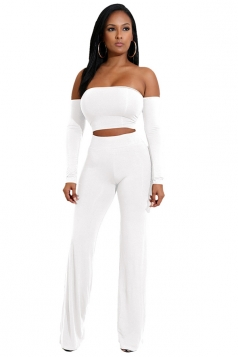 Womens Sexy Off Shoulder Lace Up Crop Top&Leisure Pants Suit White