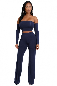 Womens Sexy Off Shoulder Lace Up Crop Top&Leisure Pants Suit Navy Blue