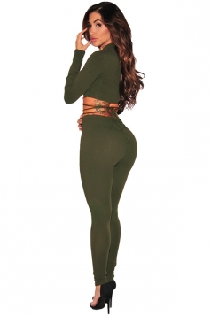 Women Sexy Lace Up Long Sleeve Crop Top&Plain Leggings Suit Army Green