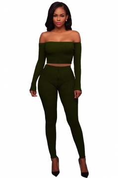 Womens Sexy Off Shoulder Crop Top&Drawstring Pants Suit Army Green