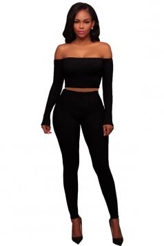 Womens Sexy Off Shoulder Crop Top&Drawstring Pants Plain Suit Black