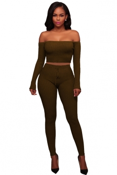 Womens Sexy Off Shoulder Crop Top&Drawstring Pants Plain Suit Coffee