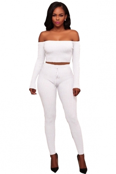 Womens Sexy Off Shoulder Crop Top&Drawstring Pants Plain Suit White