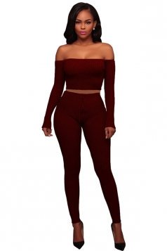 Womens Sexy Off Shoulder Crop Top&Drawstring Pants Plain Suit Ruby
