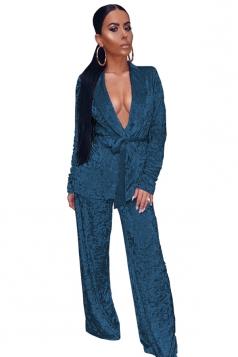 Womens Sexy Deep V-Neck Drawstring Coat&Leisure Pants Plain Suit Blue