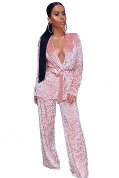 Womens Sexy Deep V-Neck Drawstring Coat&Leisure Pants Plain Suit Pink