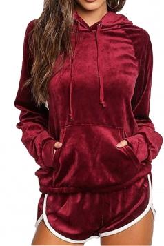 Womens Long Sleeve Kangaroo Pocket Hoodie&Shorts Sports Suit Ruby