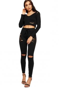 Womens Sexy Hooded Crop Top&Drawstring Leggings Sports Suit Black