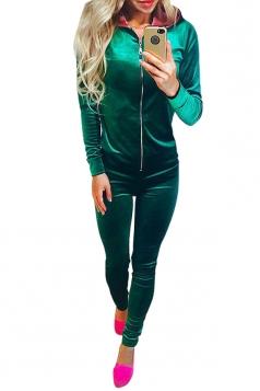 Womens Zipper Long Sleeve Hoodie&Plain Pants Sports Suit Green