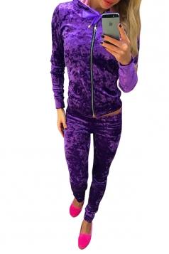 Womens Zipper Long Sleeve Hoodie&Plain Pants Sports Suit Purple