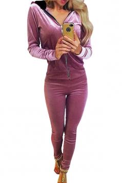 Womens Zipper Long Sleeve Hoodie&Plain Pants Sports Suit Pink