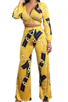 Womens Sexy V-Neck Bandage Crop Top&Leisure Pants Suit Yellow
