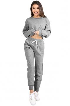 Womens Long Sleeve Crop Top&Drawstring Elastic Sport Pants Suit Gray