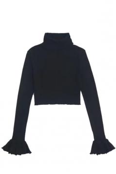 Womens High Collor Bell Sleeve Crop Top&High Waist Pants Suit Black