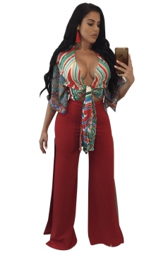 Womens Sexy Bandage Crop Top&High Waist Slit Oversized Pants Suit Red