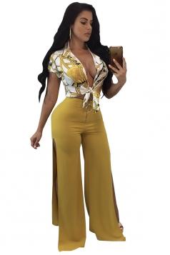 Bandage Crop Top&High Waist Slit Oversized Pants Chiffon Suit Yellow