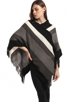 Womens Color Block Fringe Pullover Sweater Poncho Black And White