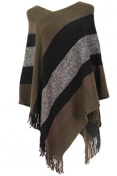 Womens V-Neck Color Block Fringe Pullover Sweater Poncho Dark Gray