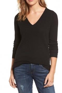 Womens V-Neck Long Sleeve Plain Pullover Sweater Black