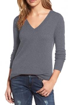Womens V-Neck Long Sleeve Plain Pullover Sweater Gray