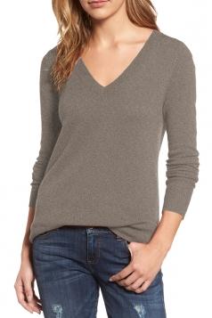 Womens V-Neck Long Sleeve Plain Pullover Sweater Khaki