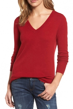 Womens V-Neck Long Sleeve Plain Pullover Sweater Red