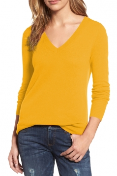 Womens V-Neck Long Sleeve Plain Pullover Sweater Yellow