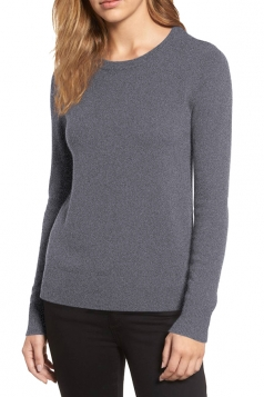 Womens crew neck Long Sleeve Plain Pullover Sweater Gray
