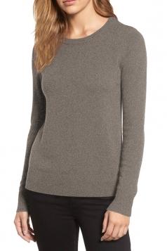 Womens crew neck Long Sleeve Plain Pullover Sweater Khaki