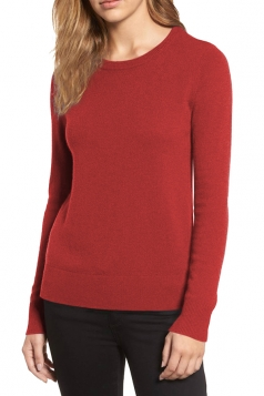 Womens crew neck Long Sleeve Plain Pullover Sweater Red