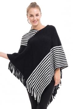 Womens V-Neck Stripe Fringe Pullover Sweater Poncho Black And White